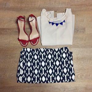 Ann Taylor Petite Navy & White Pencil Skirt